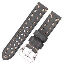 Ручной работы Ремешки для наручных часов 22 24 мм итальянские кожаные старинные часы ремешок для женщин мужчин коричневый черный зеленый коф...(China)