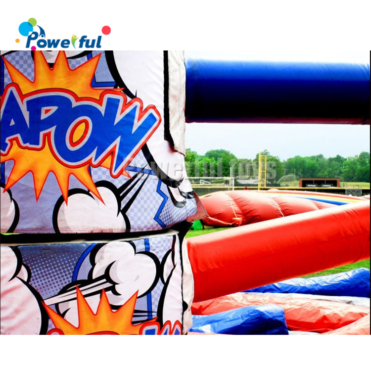 Outdoor trampoline park sport meltdown game inflatable Kapow wipeout game