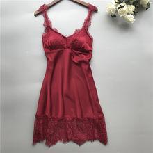 Женское кружевное нижнее белье #18, соблазнительная цельная ночная рубашка с глубоким v-образным вырезом, изящное удобное ночное белье, вечер...(Китай)