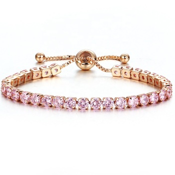 fashion cubic zirconia multi color rose gold crystal tennis bracelet for women