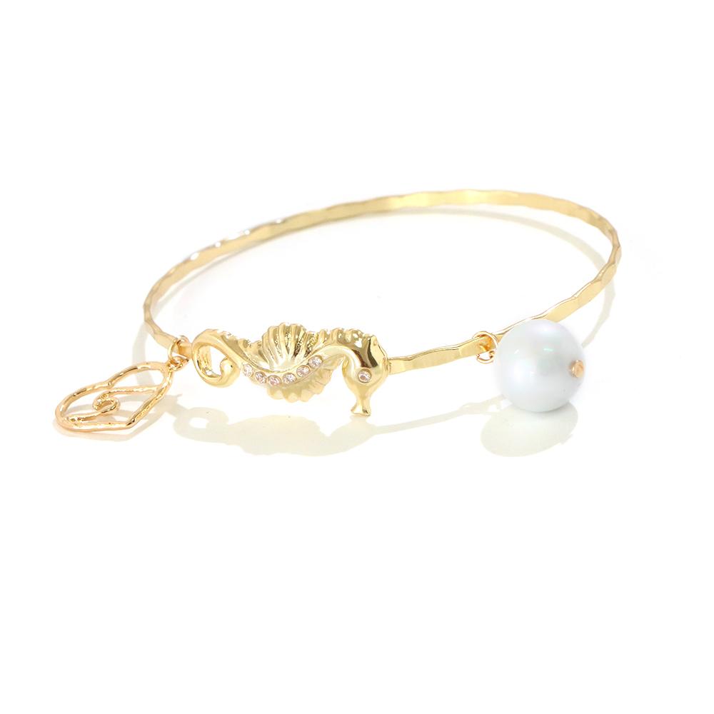 Laikii — bracelet hawaïen en en perles blanches pour femmes, bijou plaqué or, maison de mer, cœur, breloque, 2020, vente en gros