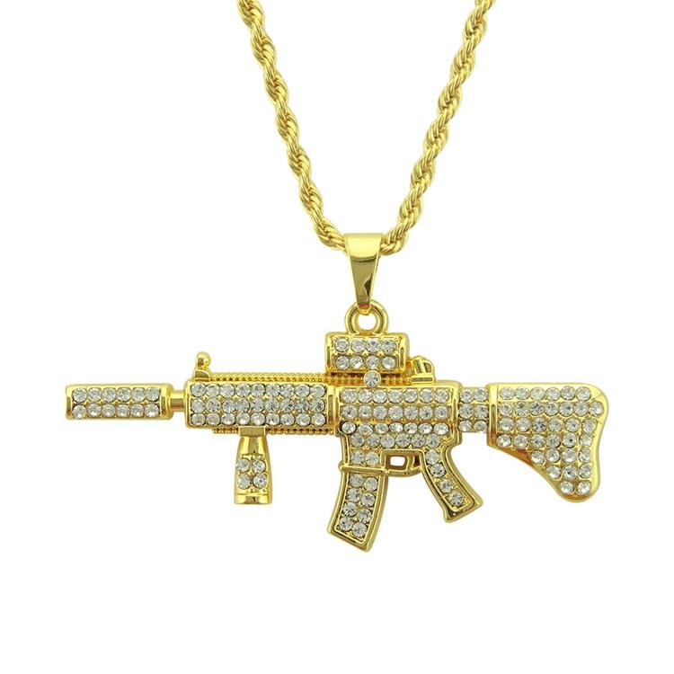 Fashion Hiphop Zinc Alloy Gun Pendant Gold Plated Gun Necklace