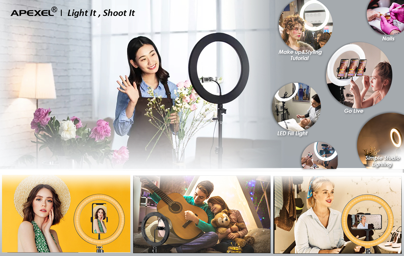 Apexel led ring light kit make up beauty selfie ring light with tripod stand for mobile phone live streaming