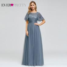 Женское длинное вечернее платье Ever Pretty, элегантное платье-трапеция с круглым вырезом и коротким рукавом, EP00904GY(Китай)