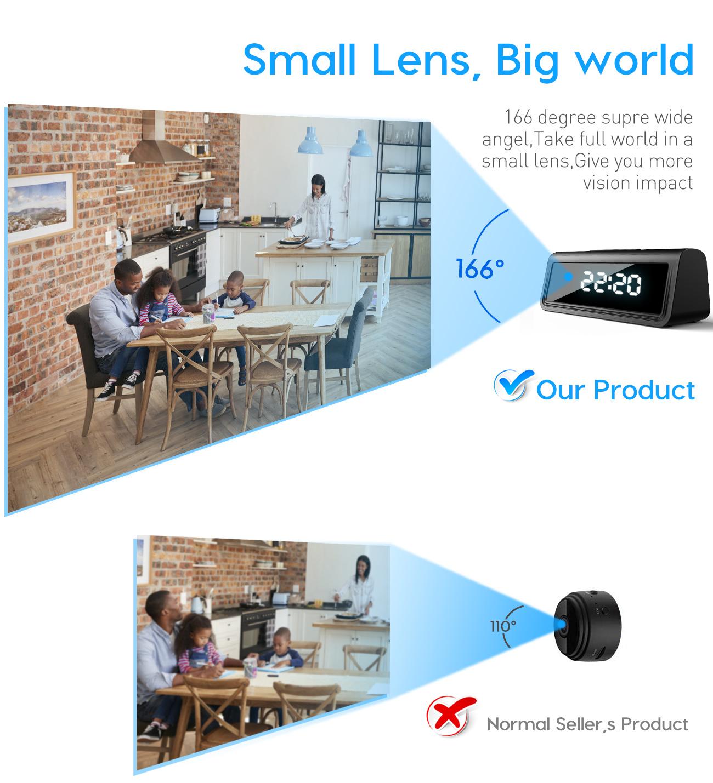 Wireless table  clock IR Night Vision mini dvr camcorder app remote 4K 1080P wifi hidden spy Camera alarm clock