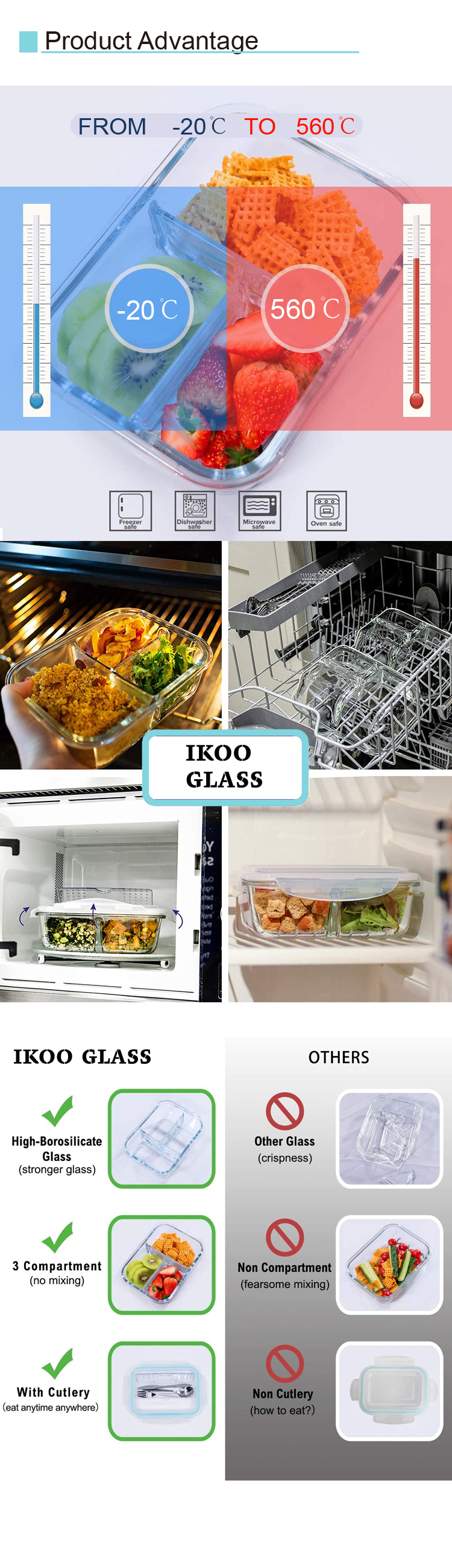 Heat resistant storage containers for food lunch box with BPA free PP lid clear glass airtight