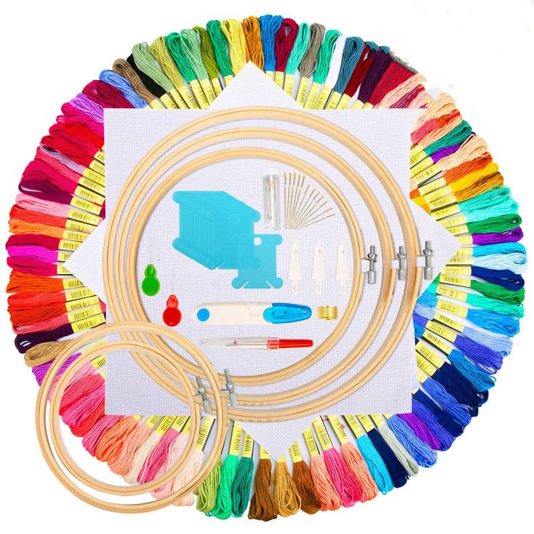 Стартовый Набор для вышивки 100 цветных нитей, бамбуковый обруч для вышивки, набор инструментов для вышивки крестом Aida