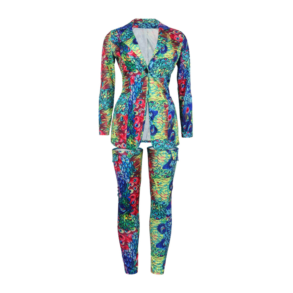 Two Piece Printed Jacket with Legging Set Fashion Sexy Blazer Set Plus Size S-3XL Club Wear Outfit for Women Ladies RS00131