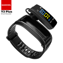 HEART RATE Monitor Y3plus Smart Gelang dengan Gigi Biru Earphone Layar Berwarna-warni Y3 Smart Watch