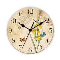 Elegant Round Beautiful Butterfly Design Wooden Wall Clock