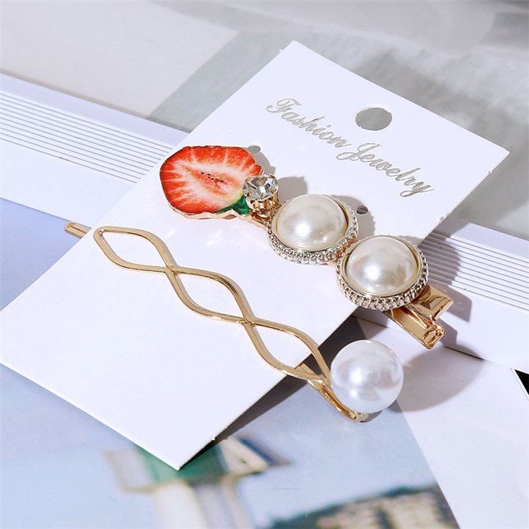 New Design Fruit Creative Female Hairgrips Acrylic Acetate Pearl Decor Girl Hairpin Set