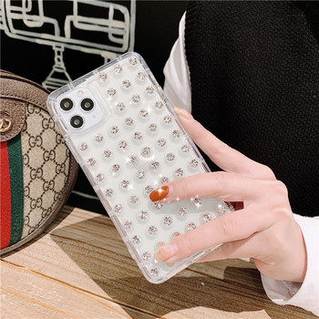 transparent clear luxury diamond white cell phone case cover for iphone 11 pro max xs max xr xs x 6 6s 7 8 plus