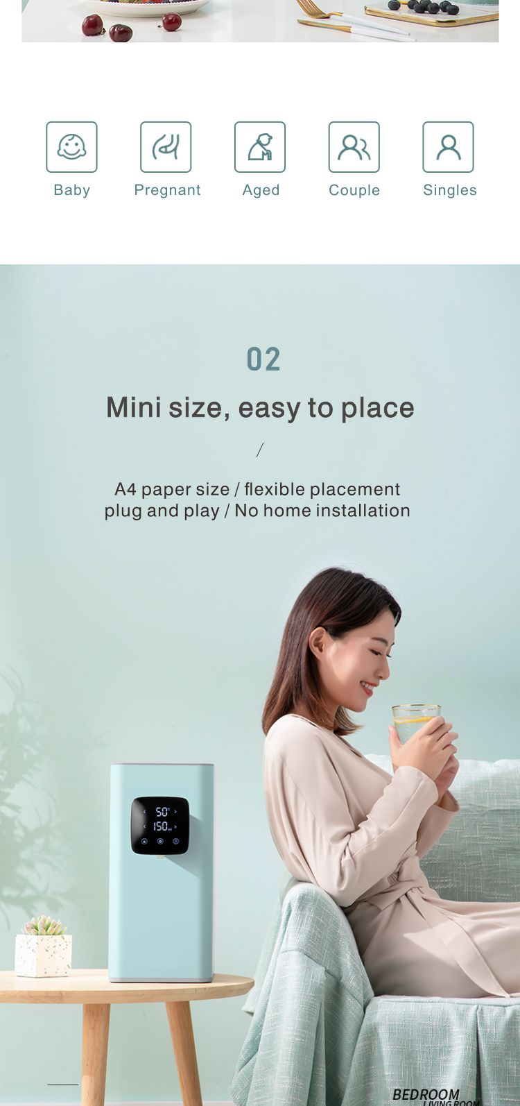 mini 7 stage hot and cold ro system instant tuya water purifier new two stage reverse osmosis uv home water filter tank