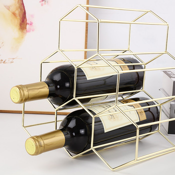 7 Bottle Wine Rack Freestanding Bottle Holder Countertop Storage Metal Brushed Gold Geometric Design for Red White Wine