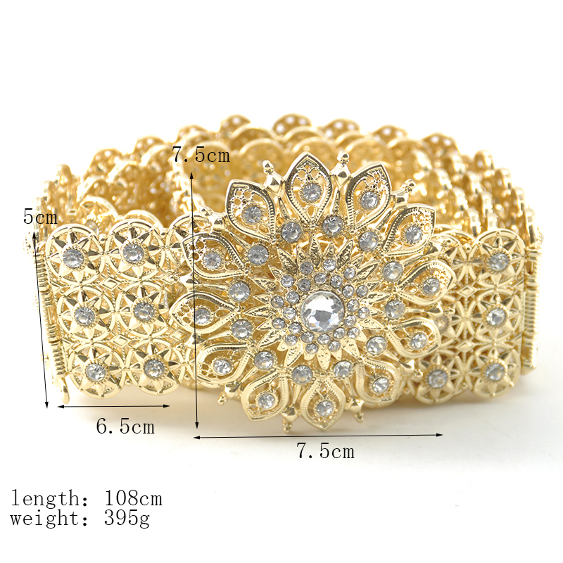 Moroccan crystal metal wedding belt gown for female hollowed-out bridal belt design jewelry