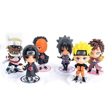 6 pcs Collectable Speelgoed Cake Topper PVC Hars Plastic Action Figure Anime <span class=keywords><strong>Naruto</strong></span>
