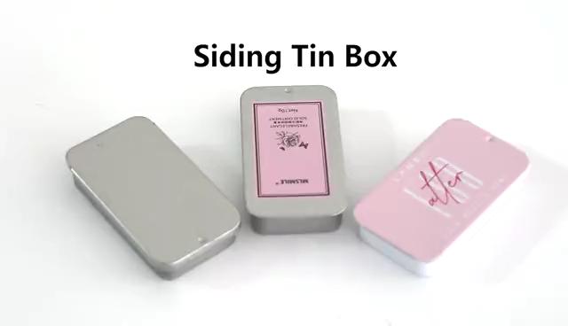Venda quente Embalagem De Metal Com Tampas de Slides Tamanho Mini Dom Latas De Hortelã Doce Pequena Caixa de Lata Retangular Com Tampa Deslizante