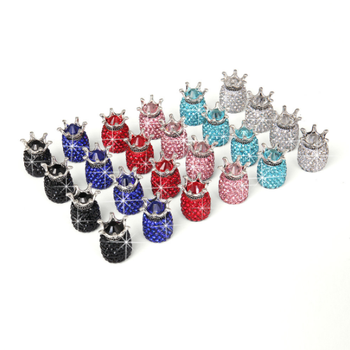Car Truck Crown Stainless Steel Waterproof Colorful Rhinestones Tire Valve Cap Wheel Stem Diamond Air Tyres Valve Cap