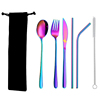 6pc colorful tableware & black bag