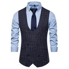 Мужской Классический Клетчатый костюм, брендовый двубортный жилет, приталенный мужской жилет, официальный свадебный жилет-смокинг, 2020(China)