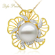 Luxury 18K yellow gold jewelry 0.57ct real diamonds flower Southsea White Pearl Charm Pendant