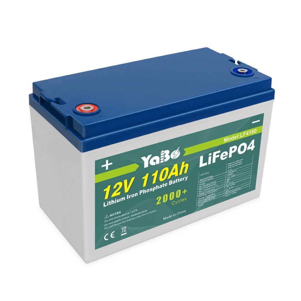 Yabo Chất Lượng Cao Màu Xanh Lá Cây Điện Có Thể Sạc Lại Pin 12 V 100AH 12.8V Lifepo4 Lithium Ion Lifepo4 Gói Pin