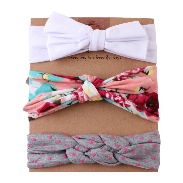 Kid hair accessory baby girl twisted knotted bow knotted headband set 20 colors