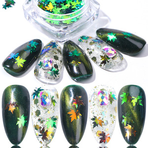 2019 Autumn Maple Gold Holographic Glitter Flakes Nail Sequins Palette Iridescent Multicolor Leaf Sheet Manicure Nail Art Decor