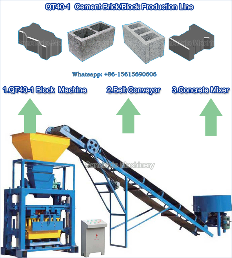 Low cost QT40-1 semi automatic cement brick making machine/hollow block machine for sale