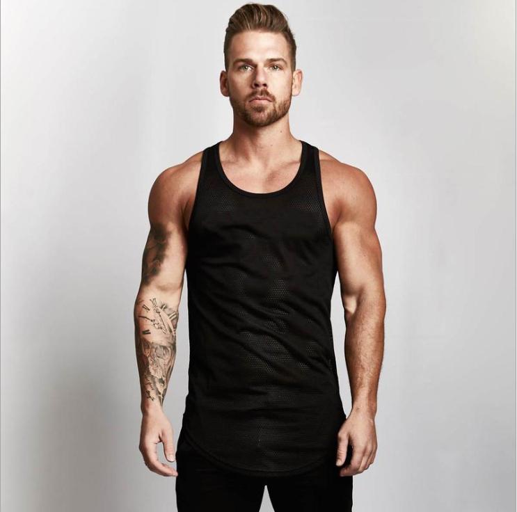 Blank Mesh Slim Fitness Top Men's Arc Hem Sports GYM Breathable Quick-drying Shoulder Vest 5