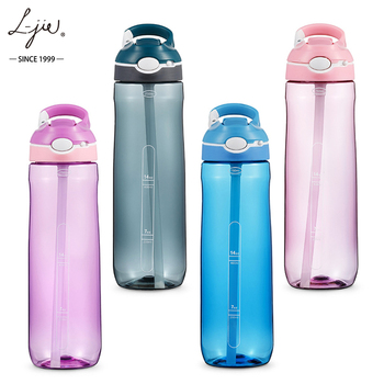 450ml 550ml 750ml Outdoors Customized Logo Accepted BPA Free motivational Plastic Sports Water Bottles with straw