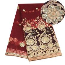 Красные нигерийские кружева с блестками, Idian нигерийские кружевные ткани с вышивкой, африканская тюль, французский кружевной материал для ж...(Китай)