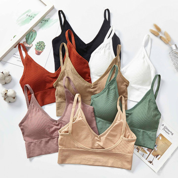 threaded suspension belt bottom deep U-back bandeau bra triangle <strong>cup</strong> sport bra chest wrap