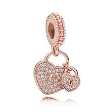 Подвеска из розового золота с кристаллами бусина-подвеска, браслет Пандора из 925 пробы серебра(Китай)