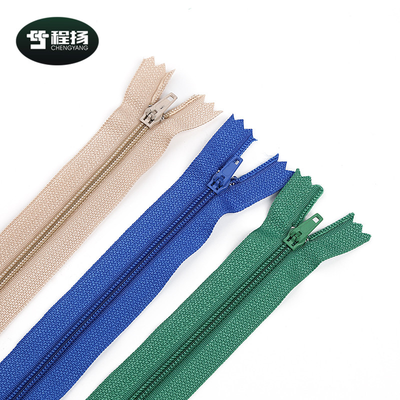 Custom logo fashion multicolor 3# nylon zippers long chain smooth teeth nylon zipper