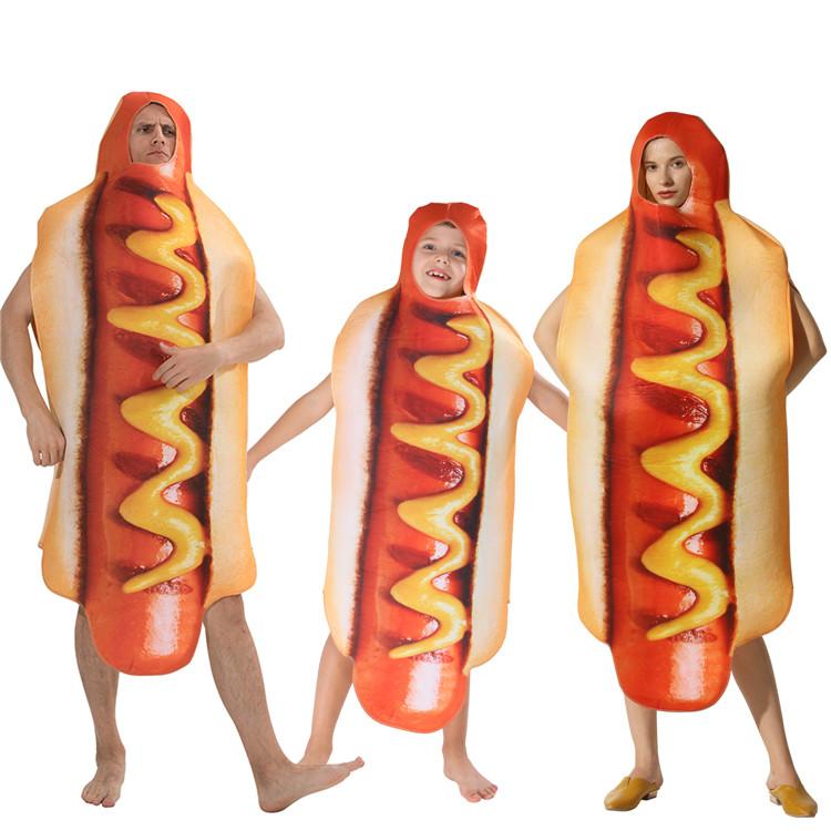 Adulto Divertente 3D Cibo di Stampa Salsiccia Hot Dog Costumi di Halloween Delle Donne Degli Uomini Carnevale Famiglia Cibo Costume