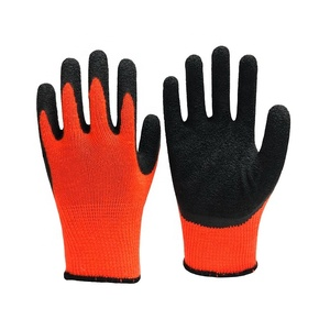 Orange Cotton knit Crinkle Latex coated Mechanic Gloves work for Construction