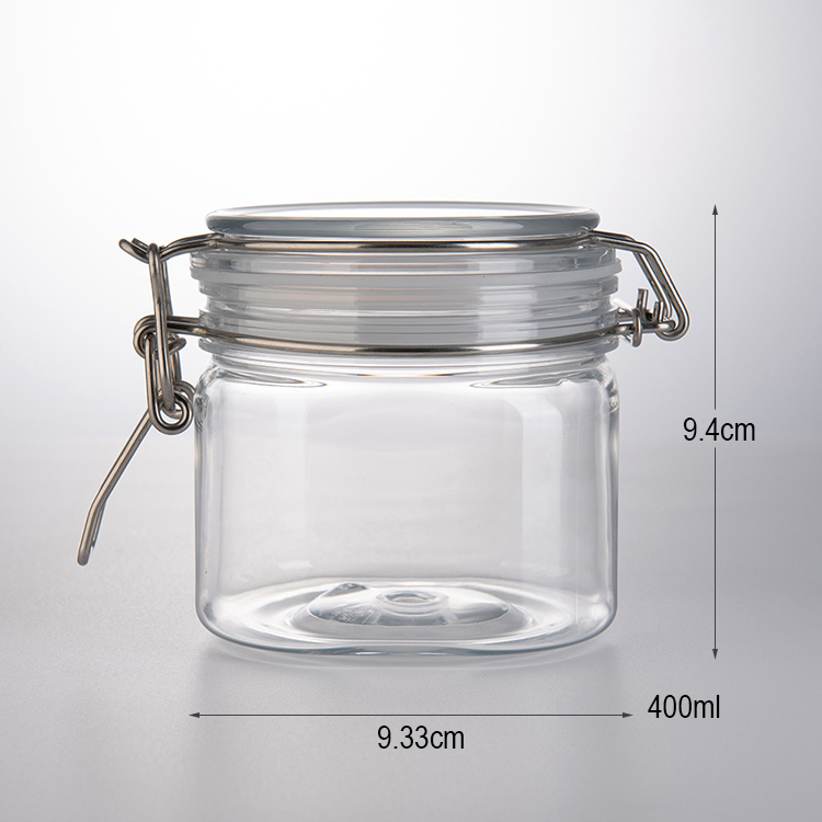 Wholesale eco-friendly transparent H94mm 400ml plastic square jar with lid