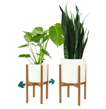 Modern Mid Century 8 -12 Inch Bamboo Wood Adjustable Display Flower Pot Plant Stand Indoor Plant Holder