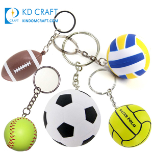Cheap custom design 2D 3D pvc rubber award souvenir sports mini rugby volleyball soccer stress ball water polo softball keychain