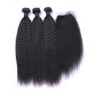Factory Raw Virgin Hair Weft Kinky Straight Hair Full Lace Front Closure Hair Extension