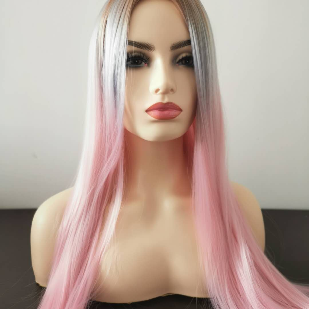 32 Inches Natural Fashion Silky Straight Long Hair <strong>Wig</strong> Lovely Women Pink <strong>Synthetic</strong> <strong>Wigs</strong>