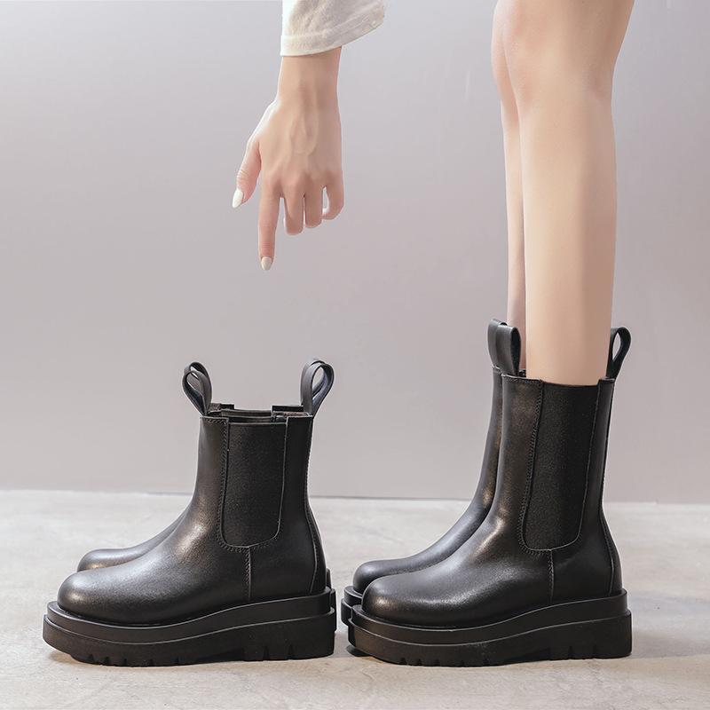 Hot sale winter high heel boots women,Chunky Heel Platform Boots,Chelsea leather boots women,