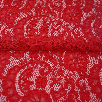Stretch Lace Fabric White Floral Rose Stretch Knit Spandex By The Half Yard Wide Bridal Dress Lingerie for Sale