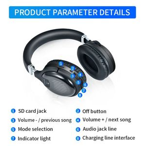 TM-061 Sport Noise Cancelling Wireless Bluetooth Headset With Mic FM TF Card 3D Stereo Foldable Earphones For Mobile Phones