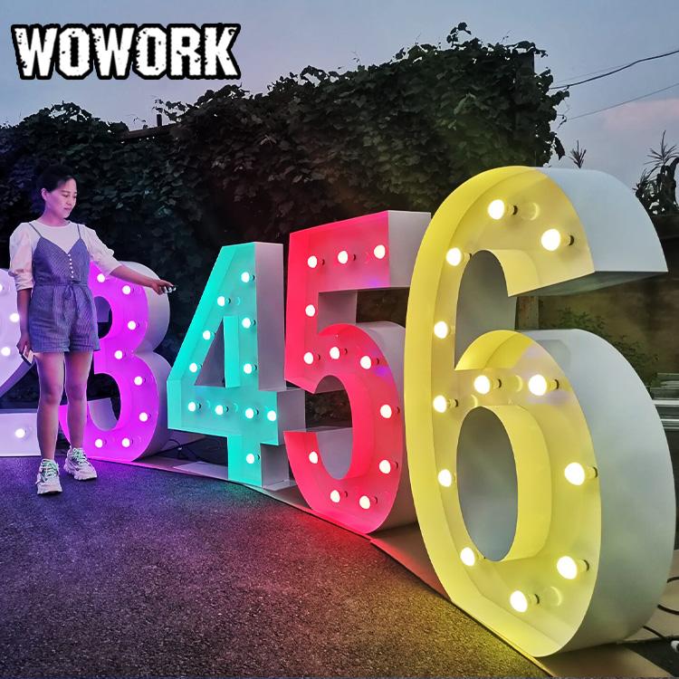 Woworld, producto en oferta, personalizado, OEM, gran luz, carta de amor, resistente al agua, proveedor de fiesta, decoración de boda