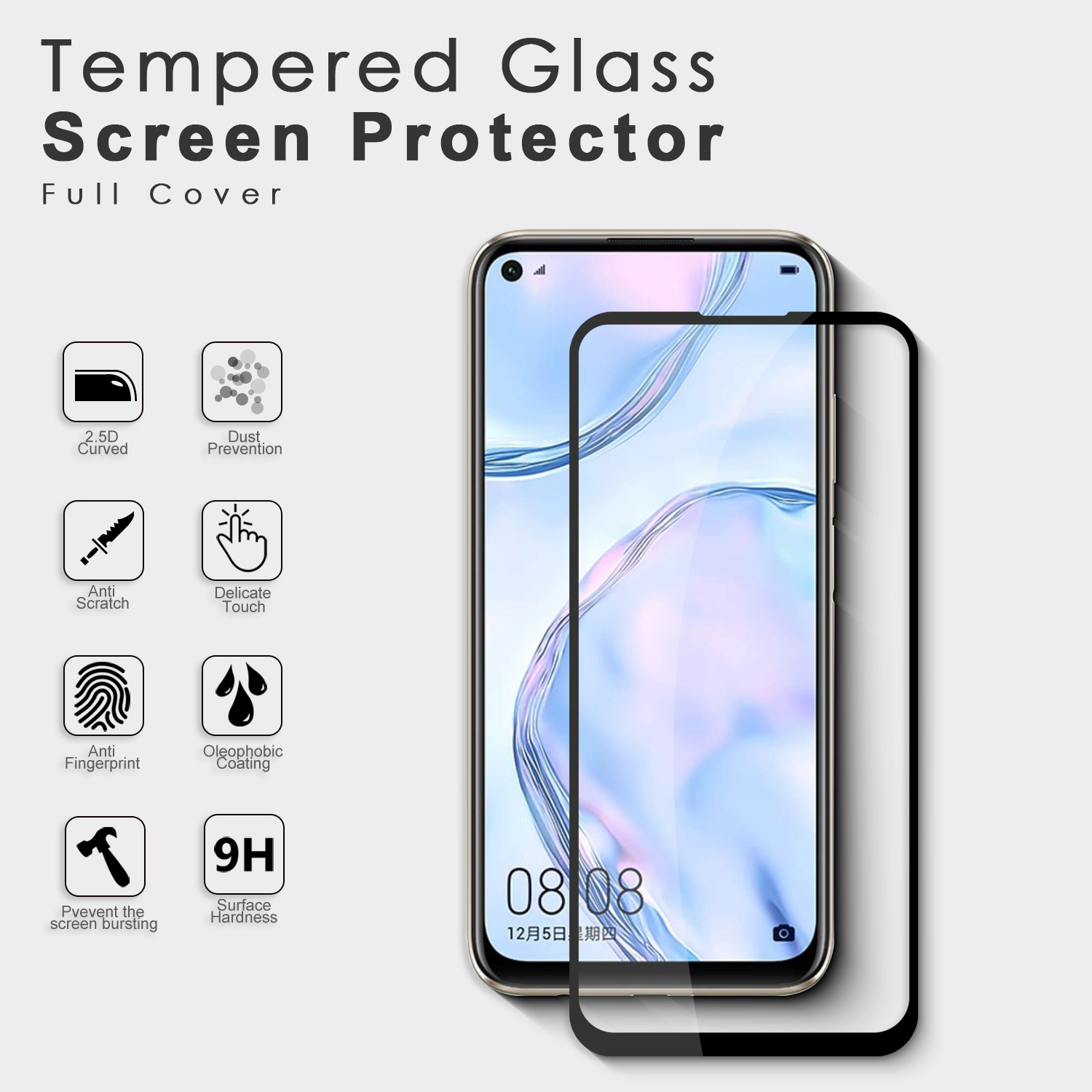 2.5D full glue 9h hardness high clear anti oil glass screen protector tempered glass film for Huawei P40 Lite