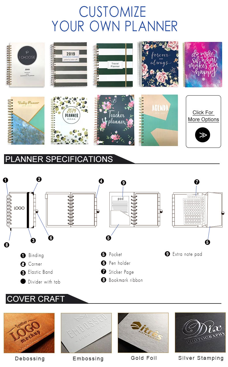 Custom Printing 2020 Hardcover A5 Spiral Paper Note Book Diary Journal Agenda Daily Weekly Monthly Organizer Planner Notebook