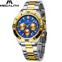 2019 новые мужские s часы MEGALITH лучший бренд Роскошные водонепроницаемые часы из нержавеющей стали светящийся хронограф кварцевые мужские час...(Китай)