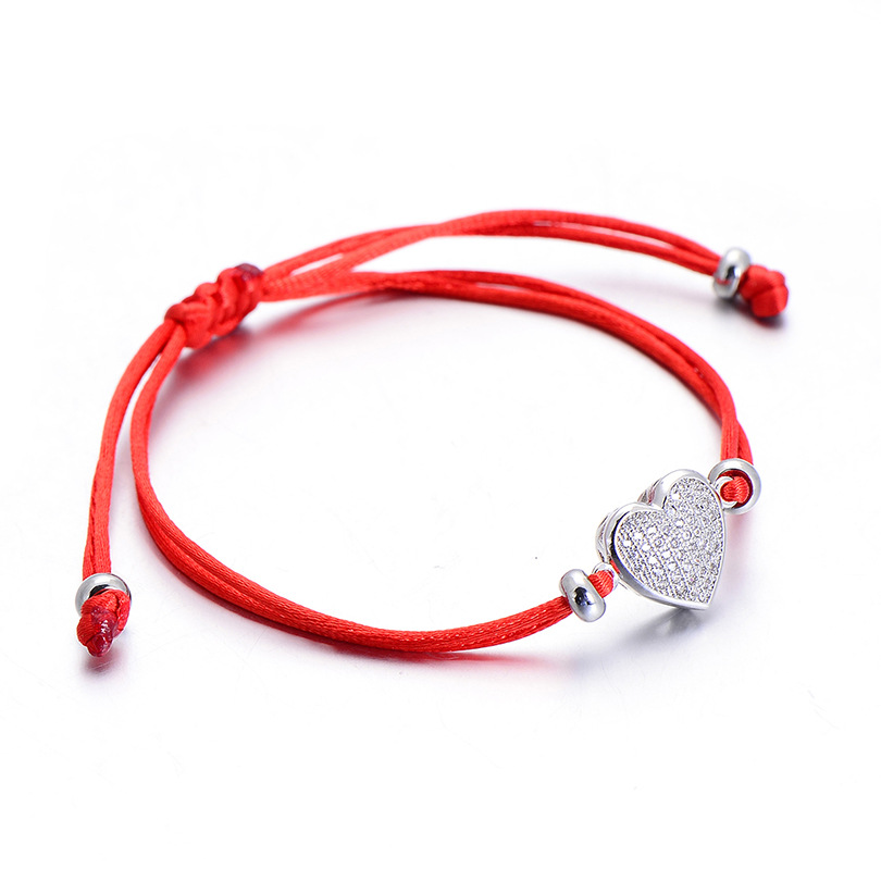 2020 New gold plated Chinese red rope heart shape fashion braided bracelet Adjustable size zircon beads bracelets for women